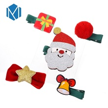 M MISM 1Set=5PCS New Arrival Christmas Gift Hairpins For Kids Children Cute Santa Elk Horn Hair Clips Set Girls Accessories
