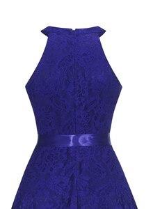 Image 5 - OML 526 # קדמי קצר ארוך בחזרה כהה כחול הלטר Bow שושבינה שמלות מסיבת חתונת שמלת נשף שמלה סיטונאי אופנה בגדים