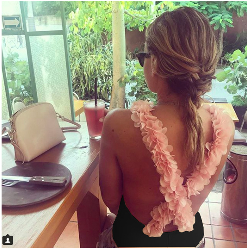 Summer 3D Flower Appliques Bodysuits Backless Beach Cross Staggered Spaghetti Strap Mail ...