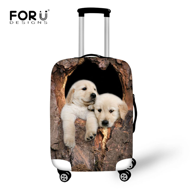 FORUDESIGNS Tree Cave Cat Dog 3D Print Luggage Cover Travel Suitcase Protective Covers Elastic Thick Cover For 18-30 Inch Cases
