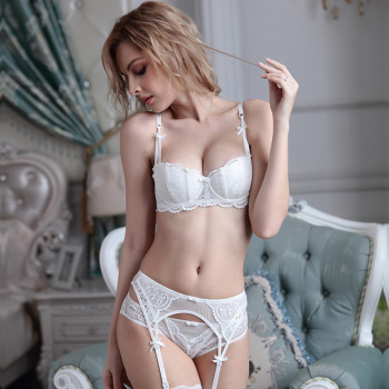Sexy Lace Embroidery Gather Half Cup Bra Set