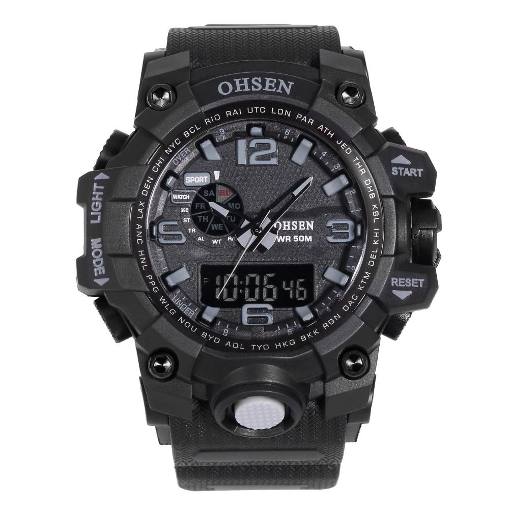 OHSEN Big Oversized Red Digital Analog Calendar Alarm Chronograph Quartz Rubber reloj Waterproof Sport uhren herren Watch/OHS241 ohsen 2821 sport quartz watch blue