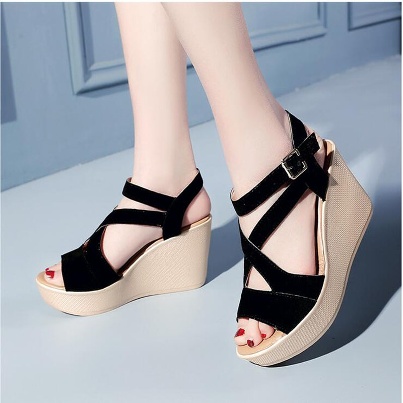 9fe5926fd9fb8 Detail Feedback Questions about Sandals women 2017 summer wedge High heels  Sponge cake The bottom of the thick Waterproof platform for student women s  shoes ...