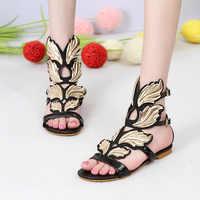 Snc Moraima 2019 nowe sandały damskie z duże skrzydła dziewczyna randki płaskie z wakacje na plaży kobiet Gladiator wygodne buty sandały