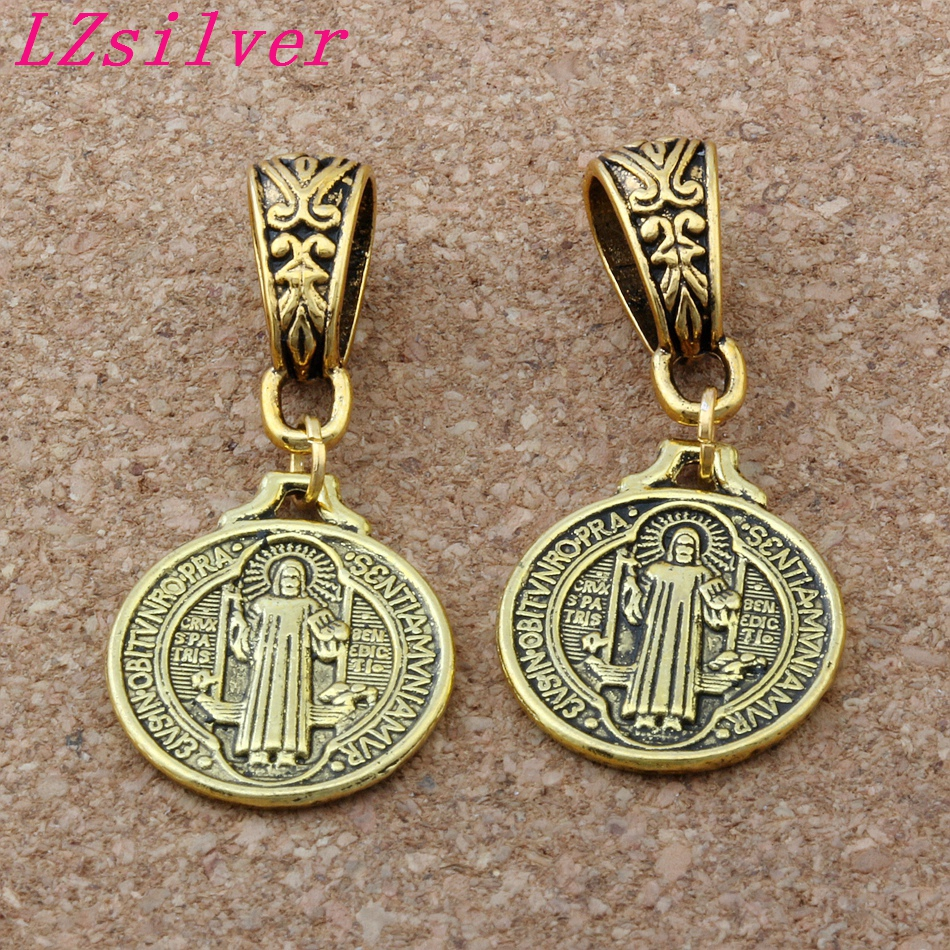 100 Pcs Ancient Gold Saint Benedict Medal Charm Big Hole Beads Fit European Charm Bracelet Jewelry 18x40mm A-114a