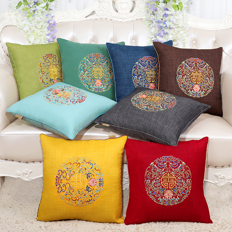 Chinese Joyous Fine Embroidery Linen Cushion Cover Christmas Cotton Pillowcase Cushions Home Decor Sofa Chair Lumbar Pillow