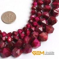 Faceted Red Tiger Augen Perlen Für Cambay Naturstein Perlen für Schmuck Machen Perlen Wärmebehandlung Verfärbt Strang 15 Zoll!