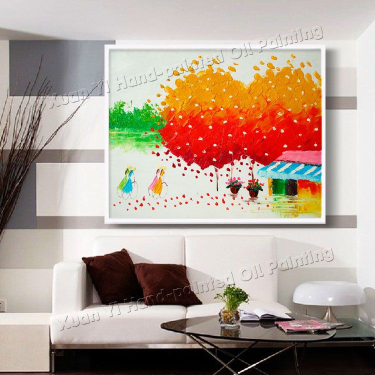 High Quality Handmade Palette font b Knife b font Color Tree Modern Wall Art Canvas Home