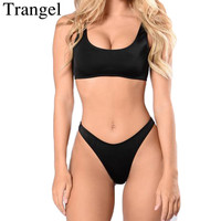 Trangel Bikinis Women High Cut Swimwear Women Black Solid Color Bikini Set Sexy Brazilian Swimsuit Push