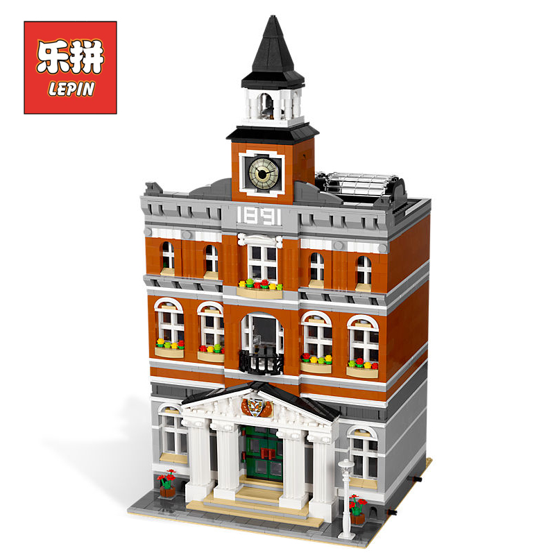 Lepin 15003 New 2859Pcs The town hall Model Building Kits Blocks Kid DIY Toy Gift LEPIN House Compatible 10224 children Toys lepin 15003 new 2859pcs creators the town hall model building kits blocks kid toy compatible brick christmas gift