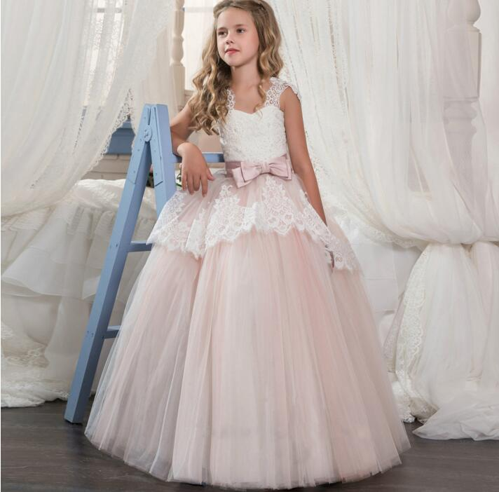 New Puffy Tulle White Lace Customized Flower Girls Dress with Bow Girls Pageant Gown First Communion Dress Size 4 6 8 10 11 14 2017 new girls page 8
