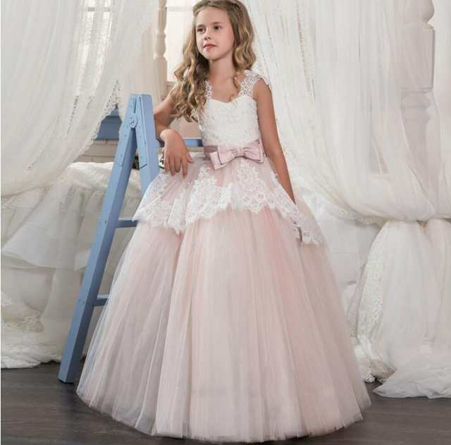 58adb945ba4 Online Shop New Puffy Tulle White Lace Customized Flower Girls Dress with  Bow Girls Pageant Gown First Communion Dress Size 4 6 8 10 11 14