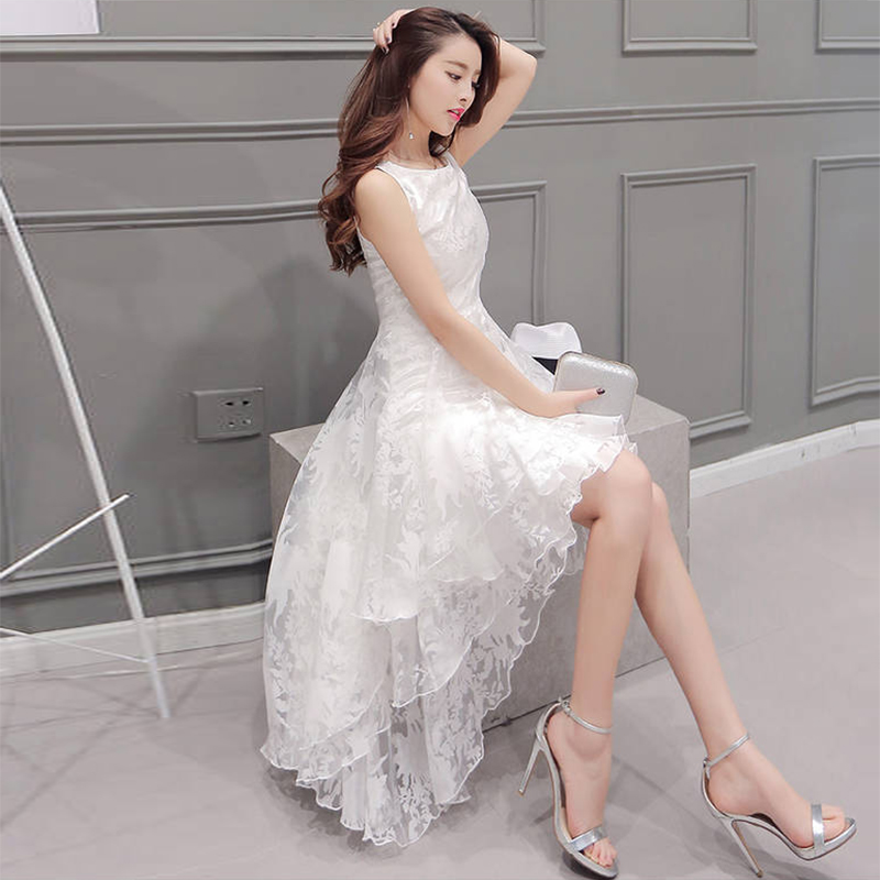 ShejoinSheenjoy Summer Maxi Dress 2018 Women O Neck Sleeveless Sweet Ball  Gown White Organza High Low Evening Party Long Dress-in Dresses from Women s  ... 0d0b72bd0647