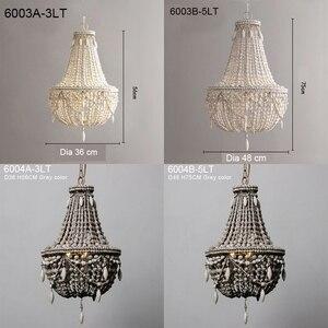 Image 5 - アンティークホワイト木製ビーズシャンデリア照明ヴィンテージ黒キッチンシャンデリアレトロ木製照明器具