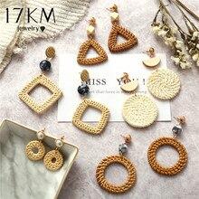 17KM Handmade Geometric Rattan Weave Chandelier Earrings For