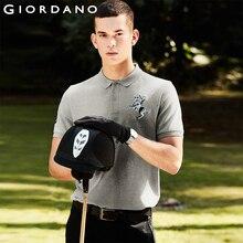 Giordano hombres Polo hombres Camisa de manga corta elástico Pique tela bordado patrones Polo Camisa hombres Slim Fit marca Camisa Polo