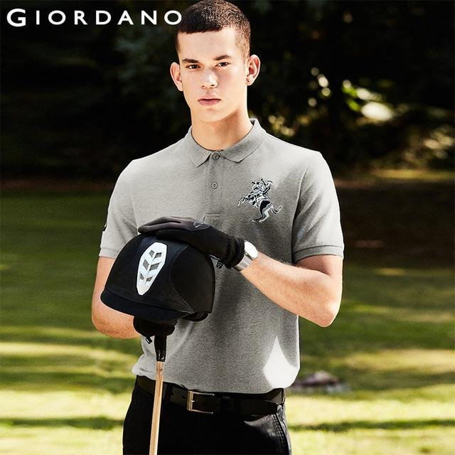 Kính mắt Giordano Nam Polo Nam Áo Sơ Mi Nữ Tay Ngắn Co Giãn Pique Vải Thêu Hoa Văn Áo Nam Slim Fit Thương Hiệu Camisa Polo