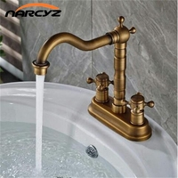 New Arrival High Quality Antique Brass Luxury Bathroom Dual Lever Dual Hole Design Sink Faucet Basin