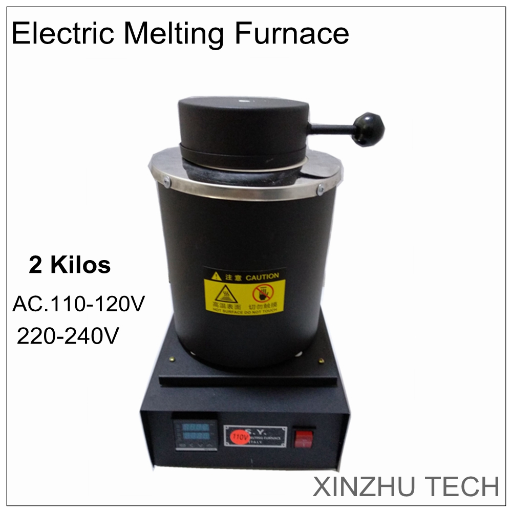 110V/220V Gold Electric melting furnace 2 kilos smelter automatic digital display electric jewelry melting oven with crucible