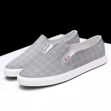mens casual shoes 2019 fashion plaid men canvas shoes for men loafers comfortable breathable slip on shoes man flats shoes цены онлайн