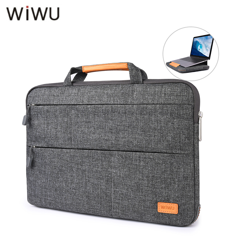 где купить WIWU Notebook Bag With Stand Function Multi-Pockets Waterproof Nylon Laptop Bag for MacBook Pro 13 15 Air 13 Portable Stand Bag дешево