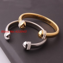 Fashion 8mm Novelty Silver Or Gold Tone Stainless Steel Women's Cuff Bangle With top Crystal CZ Jewelry Bracelet Christmas Gift