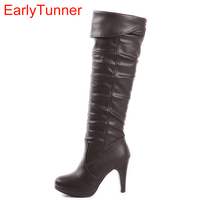 Armoire 2014 Fashion Sexy Black Brown Super High Heels Women Knee High Boots Ladies Shoes A98