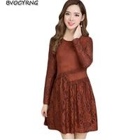 Artı boyutu Kadın Giyim 2017 Ilkbahar Sonbahar Kış Kore Ekle Yün Katılmadan Dantel Yüksek Kaliteli Elbise Kadın Vestido Elbiseler A0139