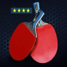 poppel Wood og Carbon Fiber Blade 4 Stjerner rackets bordtennis Sticky Pimples-in Gummi Super Kraftig Ping Pong Racket Bat