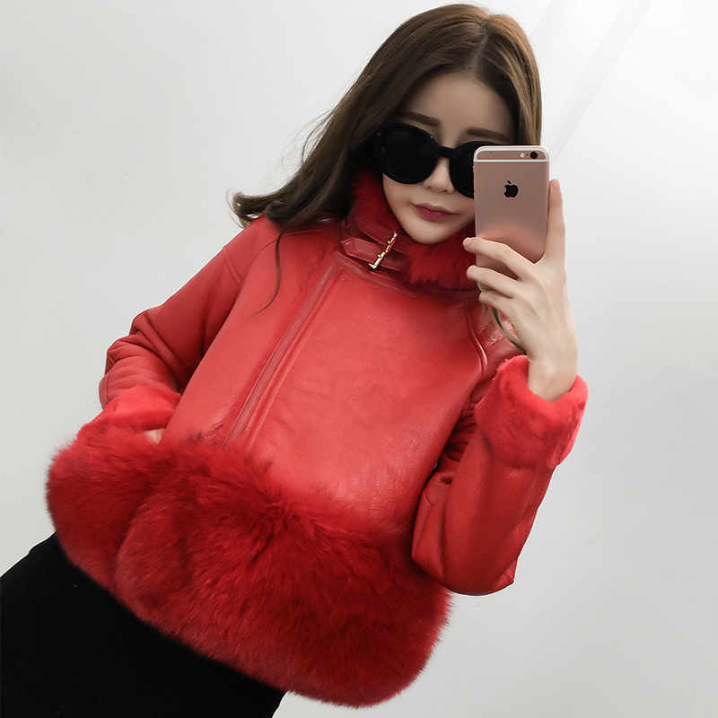 Luxury Natural Fox Fur Coat Merino Sheepskin Leather Shearling Full Pelt Genuine Jacket Women's Clothing - Real Fashion store