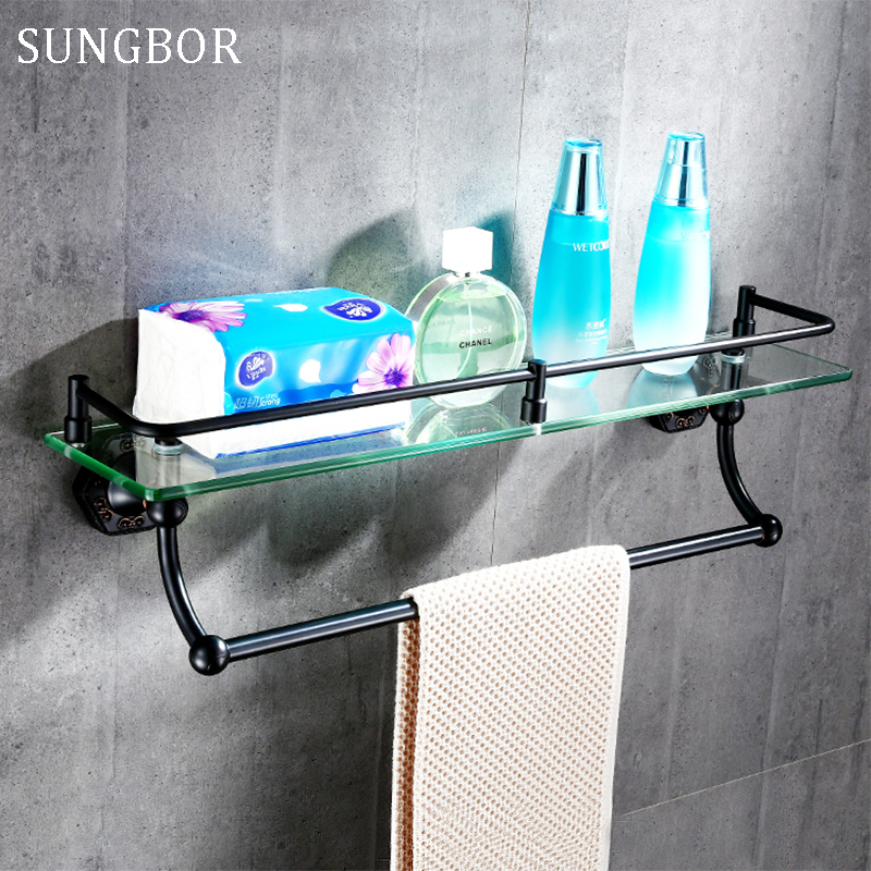 Oil Rubbed Bronze dual tier bathroom shelf black, Copper glass rack shelf towel bar, Antique bedroom dresser shelf wall mounted ceramic oil rubbed bronze crystal hanger towel rack holder single towel bar new