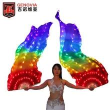 Belly Dance Costume  Led Lighted Gradient Silk Fan Veil Bellydance Accessories LED 100% Silk Veil Fan original gpd win fan accessories
