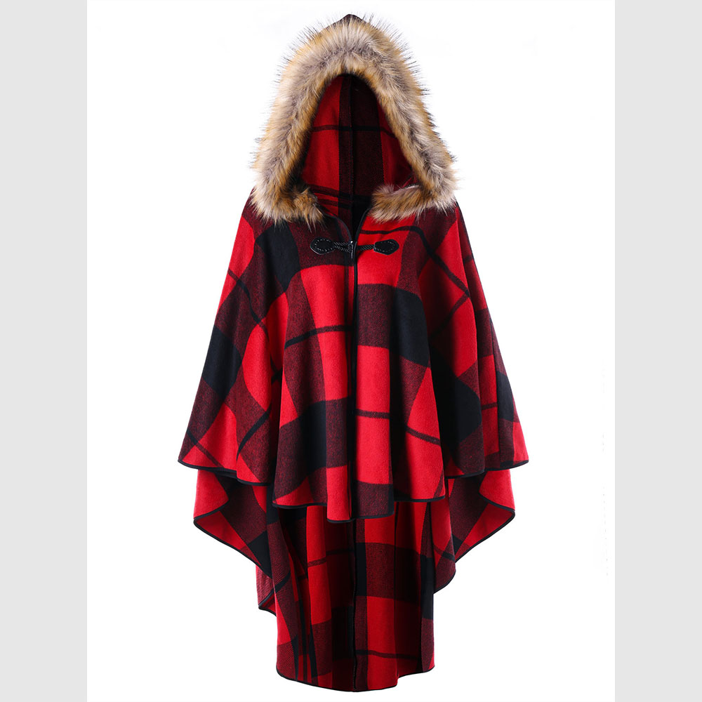 Red Plaid Carolers 18: CharMma 2017 Autumn Warm Coat Women Plus Size 5XL Red