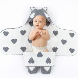 Bebê recém-nascido swaddle envoltório carrinho de malha algodão infantil bebê recebendo cobertor & swaddling sleepsack para o bebê 0-12 m dropshipping