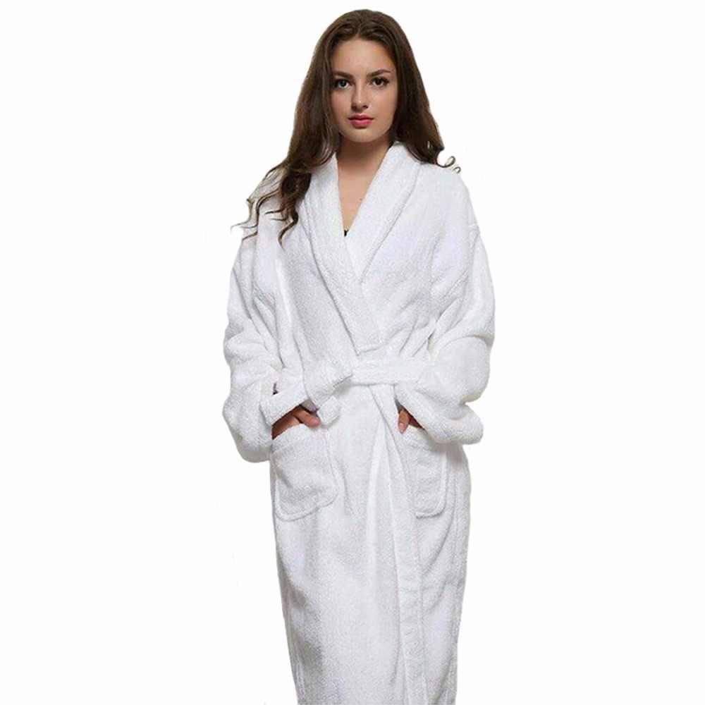 17643ad147 Casual Women And Men White Long Robes White Cotton Twist Towel Bathrobe  Dressing Gown Bath Robe