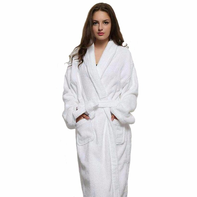 Casual Women And Men White Long Robes White Cotton Twist Towel Bathrobe  Dressing Gown Bath Robe Unisex Winter Warm Dressing Gown 34895ceef
