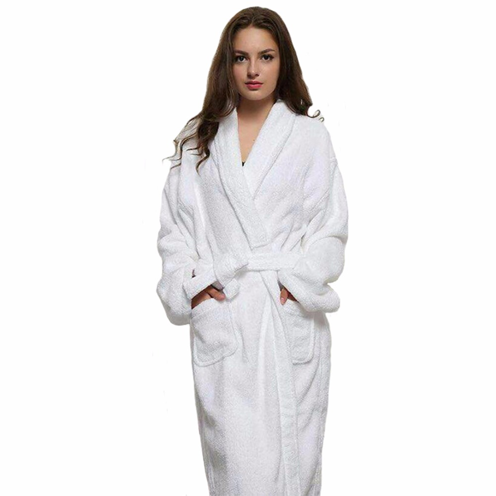 Casual Women And Men White Long Robes White Cotton Twist Towel Bathrobe Dressing Gown Bath Robe Unisex Winter Warm Dressing Gown ...