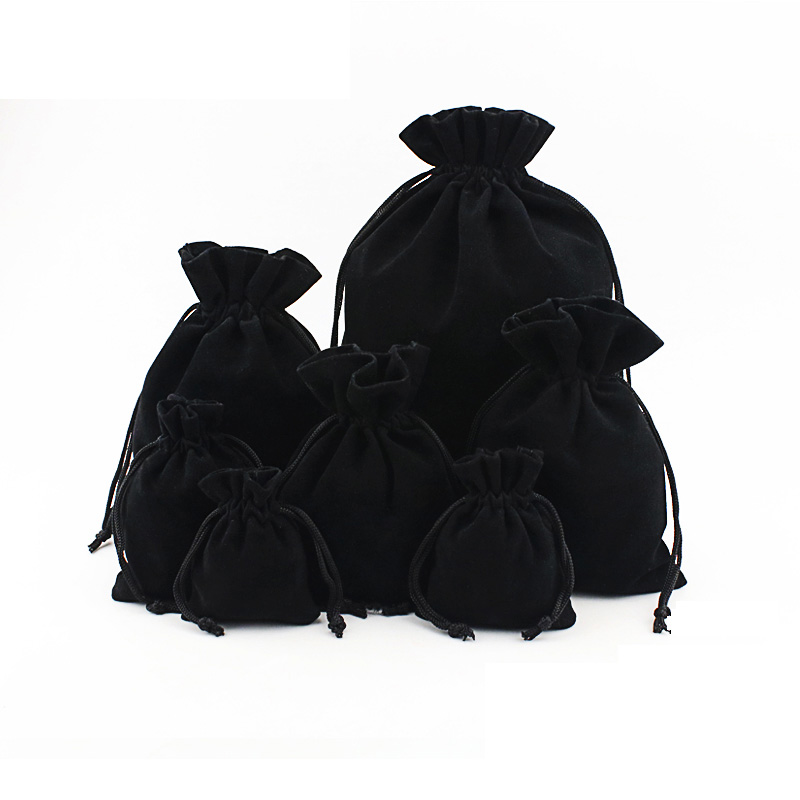 20pcs Flannel Jewelry Drawstring Bags Black Jewellery Pouches Velvet Gift Bags Wedding Favor Bags Can Custom Personalized Logo
