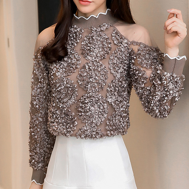 Spring   Blouses     Shirts   2019 Fashion long Sleeve Cold Shoulder Tops Causal Three-dimensional flower Pleated Sexy white Blusa 907G3