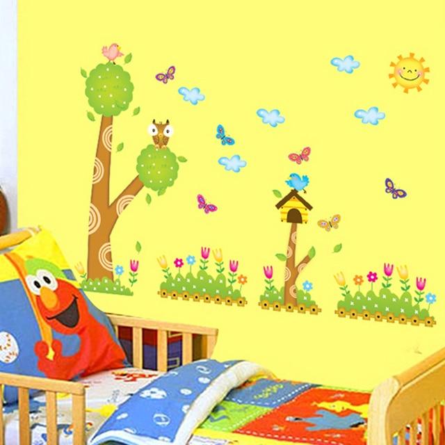 Tree Owls Butterflies Wall Decal Home Sticker Paper Art Picture DIY ...