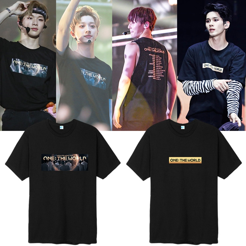 KPOP Wanna One men tshirt ONE THE WORLD Concert Fan Support Short sleeve unisex summer T-shirt causal Tee Tops New