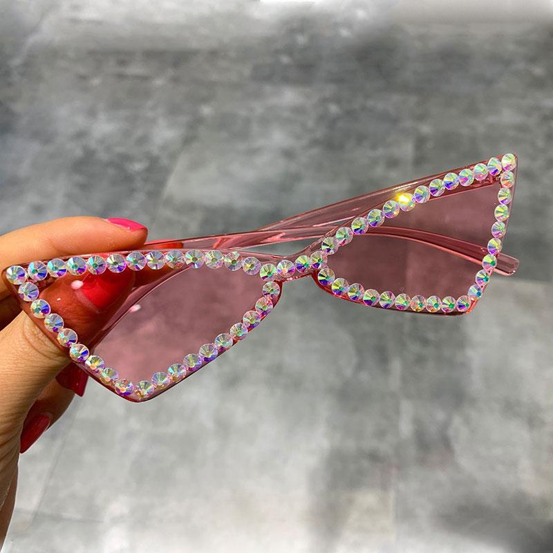 Sexy Cat Eye Sunglasses Women Rimless Vintage Rhinestone Sun Glasses Female Lady Candy Color 2019 Eyewear Triangle Shades UV400