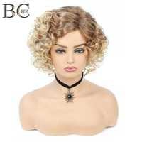 BCHR 6 Inch Kurze Lockige Platin Synthetische Perücken Für Schwarze Frauen African Frisuren Natürliche Blonde Haar Perücke