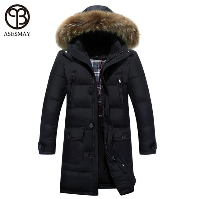 2016 Luxury brand down coat men parka long winter jacket hood fur ...