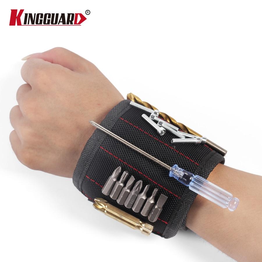 KINGGUARD  Polyester Magnetic Wristband Portable Tool Bag Electrician Wrist Tool Belt Screws Nails Drill Bits Holder Repair Tool