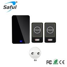 Saful Plug-in Wireless Door Bell Waterproof EU Plug touch button 28 Chimes 2 Ourdoor Transmitter + 1 Indoor Receiver