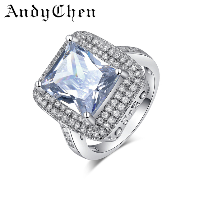 AndyChen Silver Color Luxury Crystal Jewelry Classic Engagement Rings for Women Wedding Accessories Bague ASR160