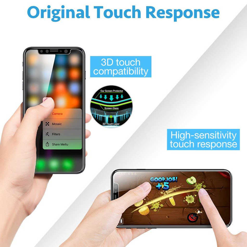 3-Pack واقي للشاشة الزجاج المقسى آيفون X 11 S R 8 7 6 6s Plus Xs Max Xr Xsmax 0.3 مللي متر تشديد زجاج عليه طبقة غشاء رقيقة آيفون X