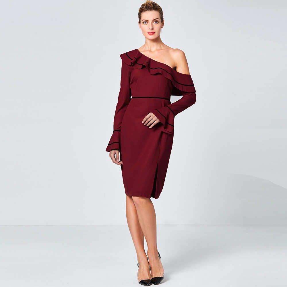 38d1c3fcc3 Wine Red Asymmetric One Shoulder Autumn Pencil Dress Flare Long Sleeve  Women Short Gown Off Shoulder