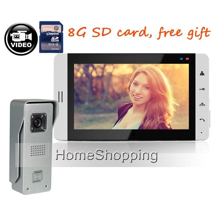 Free Shipping New 7 Color Door Monitor Video Intercom Home Door Phone Recorder System E-lock Waterproof Rain Cover 8g Sd